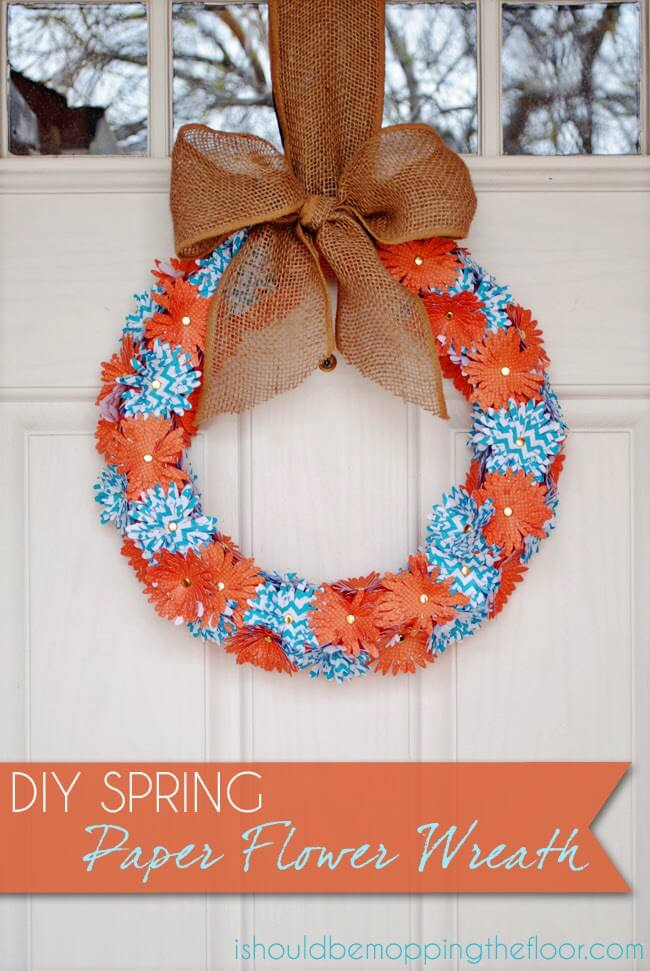 Bright Cutout Paper Flower Wreath