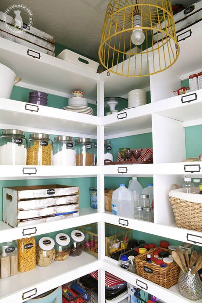 White Shelves with Chalkboard Labels
