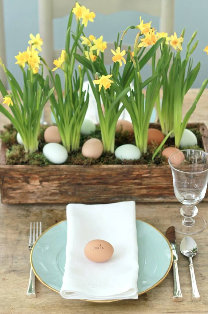 Wooden Flower Planter Centerpiece with Easter Eggs