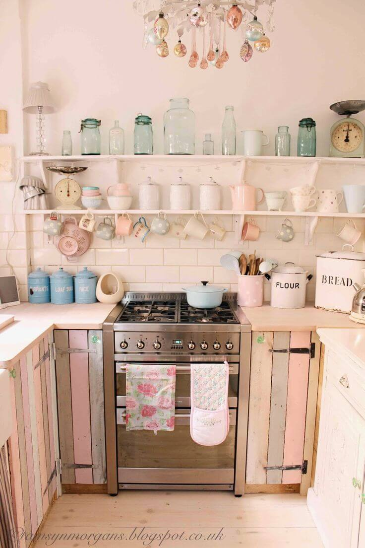 Multicolored Barn Wood Cabinets And Pink Walls