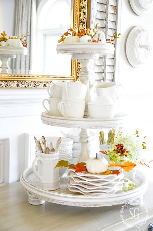 Antiqued White 3-tiered Tea China Tray