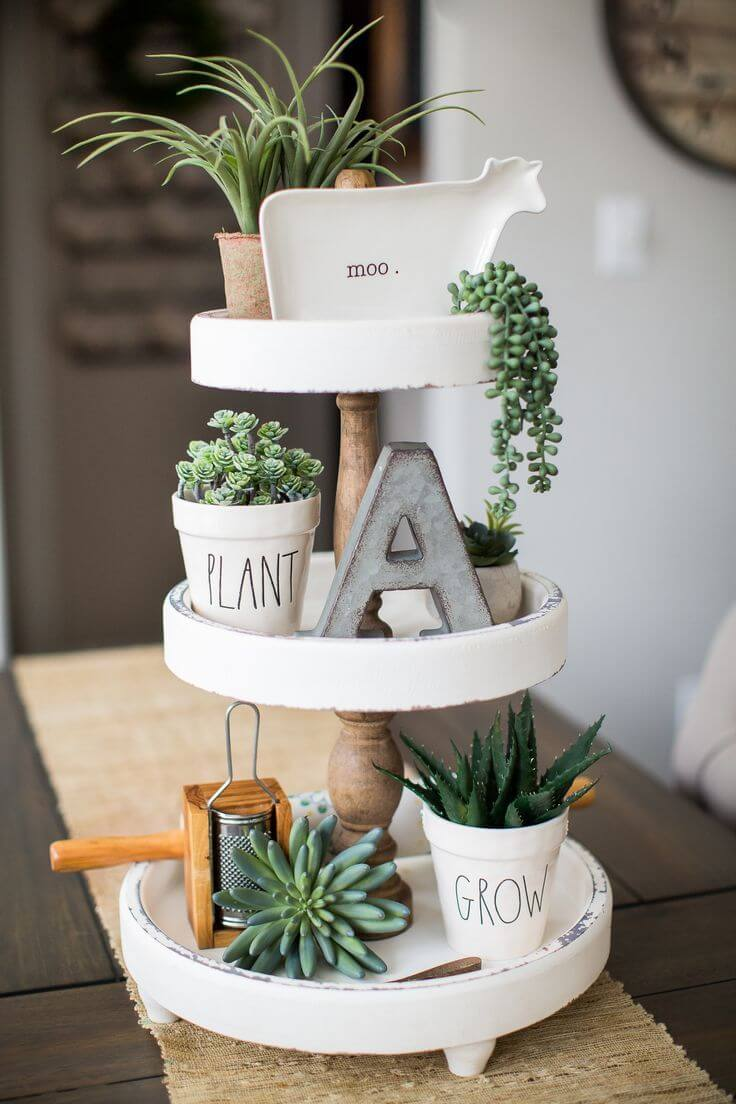 Tiered Succulent Garden with Knickknacks