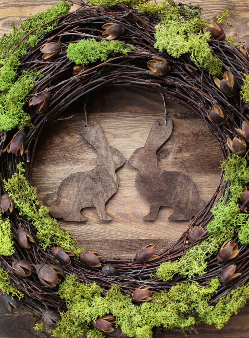 Twig and Green Moss Easter Bunny Wreath