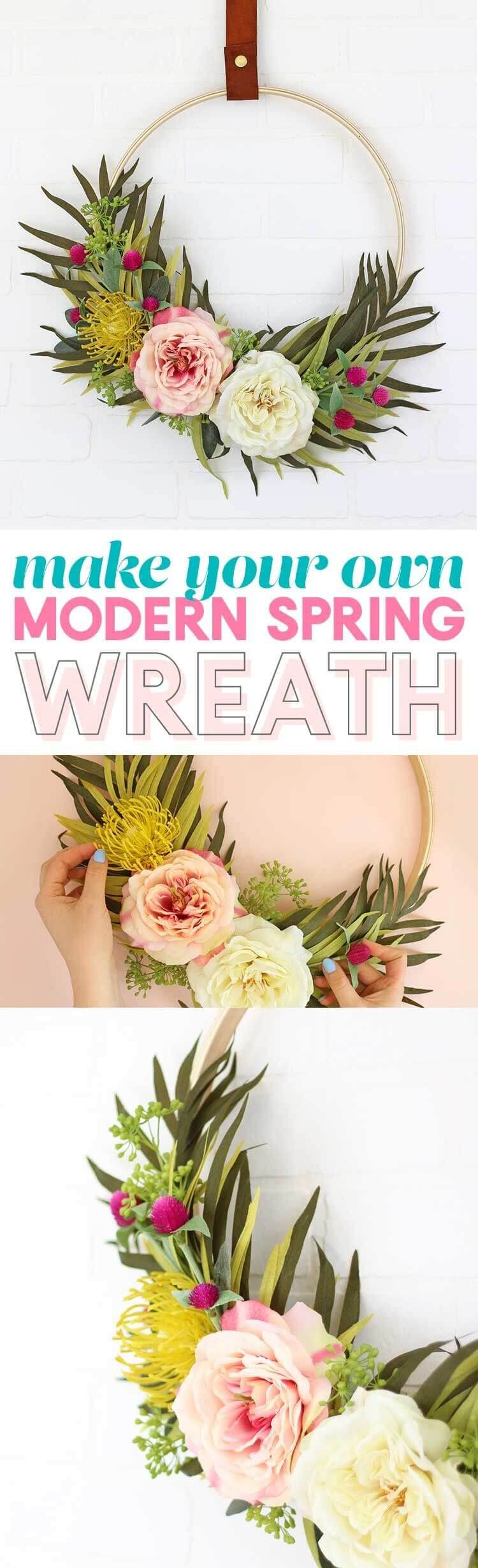 Unique Floral Combinations on a Hoop Wreath