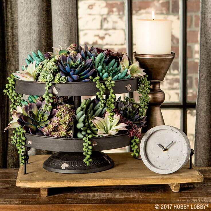 Metallic 2-tiered Succulent Garden with Decorative Base