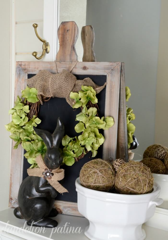 Elegant Bunny and Wreath with Burlap Bow