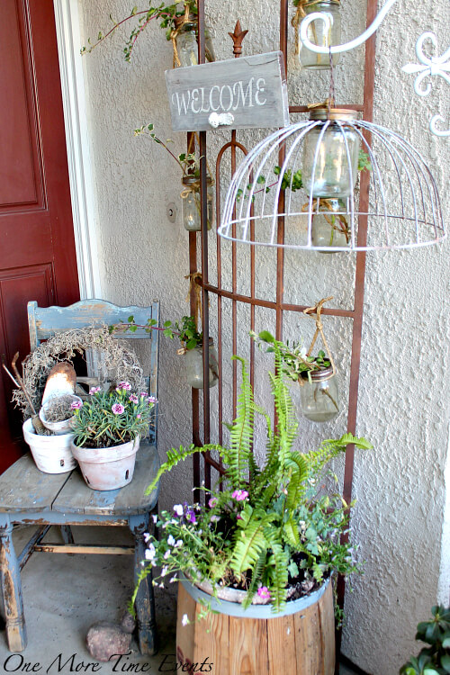 Trellis With Hanging Mason Jar Vases