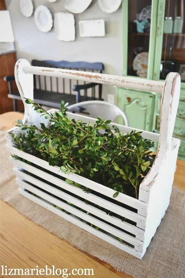 Vintage Handled Box with Boxwood Sprigs