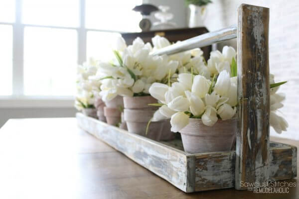 Springtime Potted Flowers in Weathered Wood Caddy