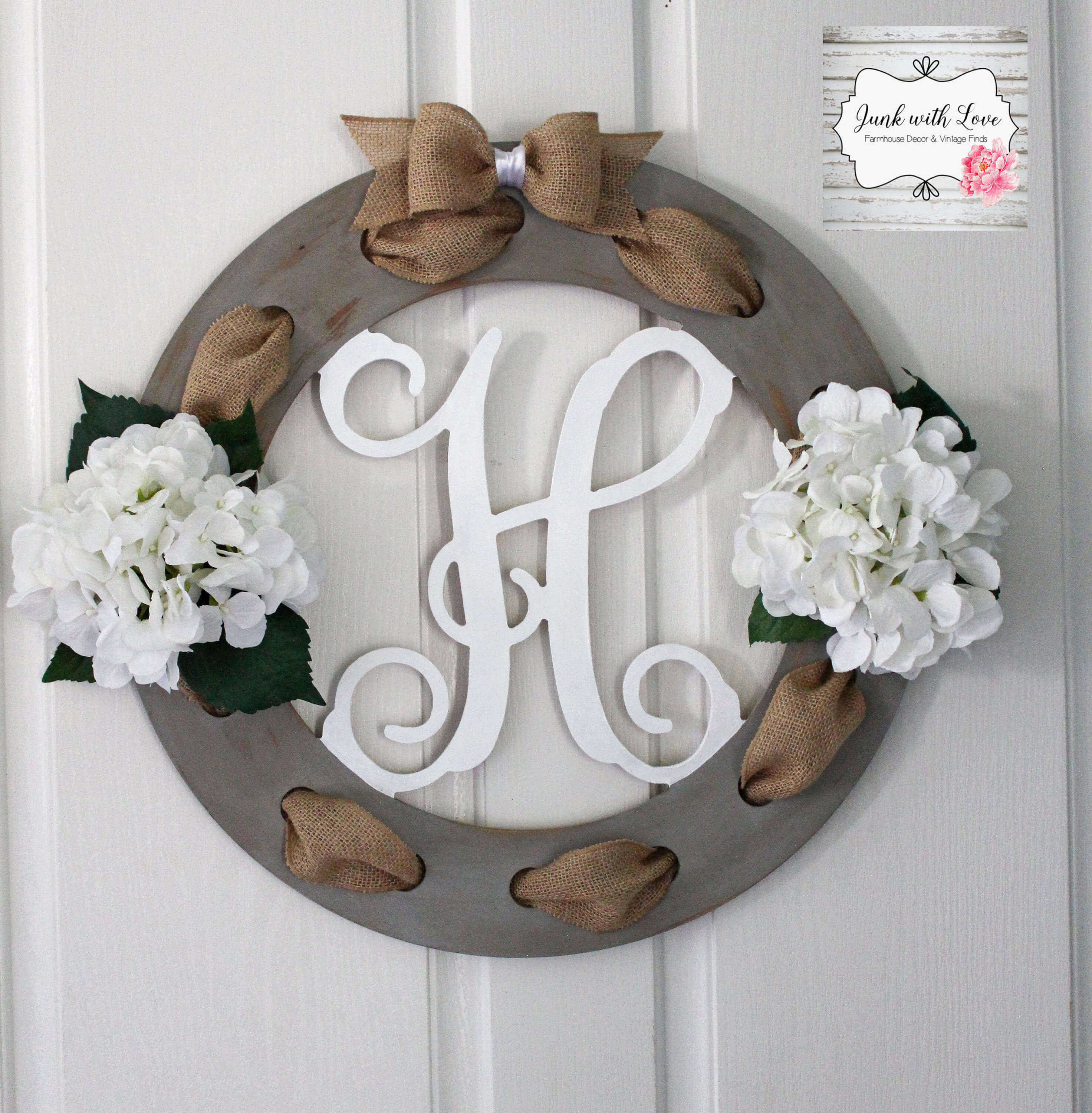 Burlap and Wood Wreath With Floral Accents