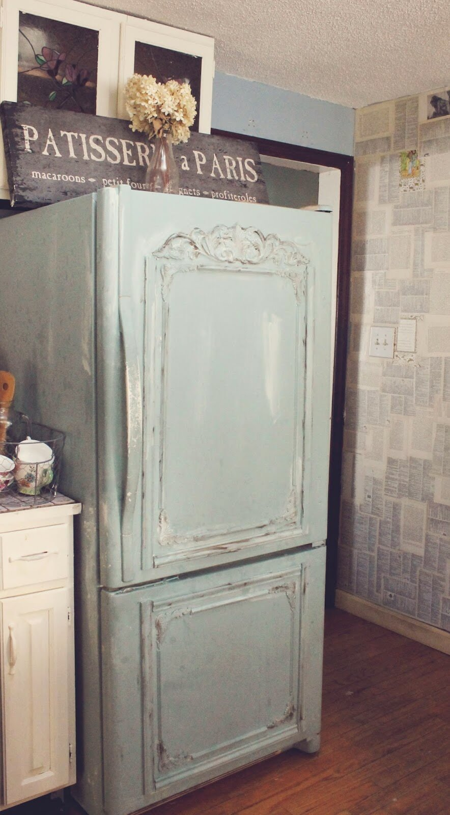 Faux Antiqued Refrigerator and Newsy Wallpaper