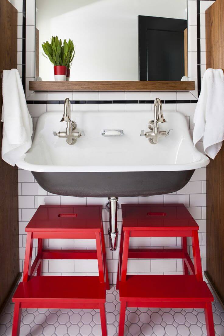 Retro-inspired Sink with Color Pop Stools
