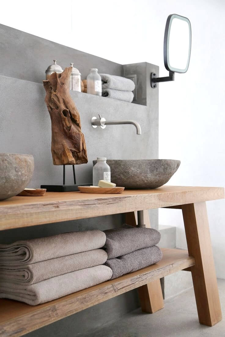 Rustic Basin sink with Stone Backsplash