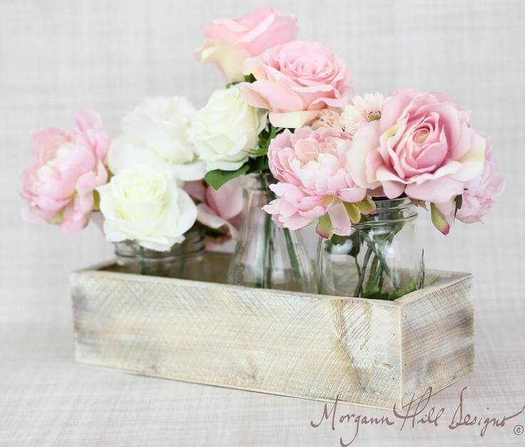 Peonies and Roses in Mason Jars