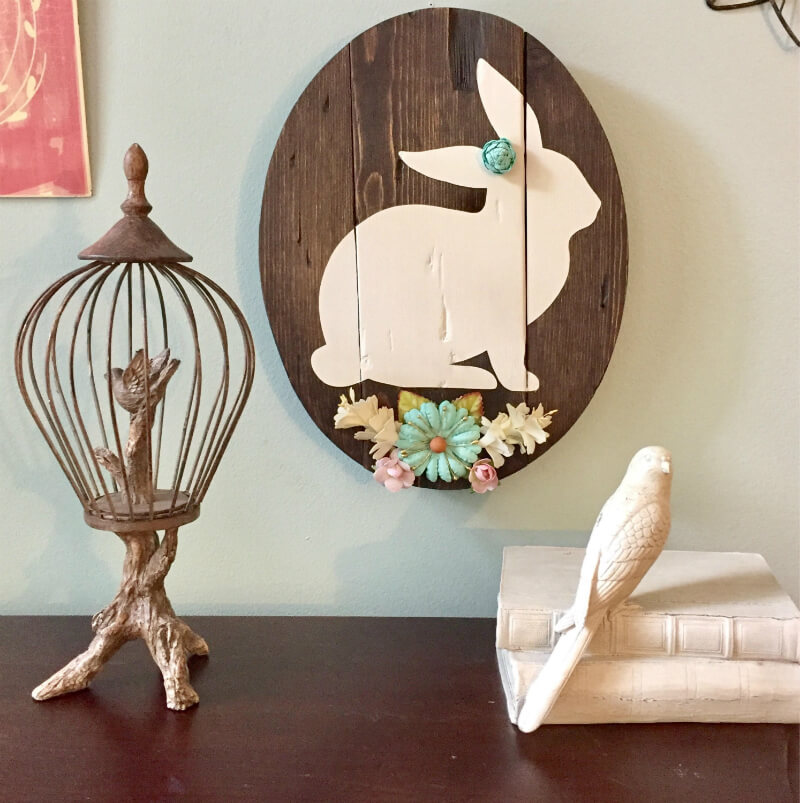 Painted Wood Easter Bunny Cameo