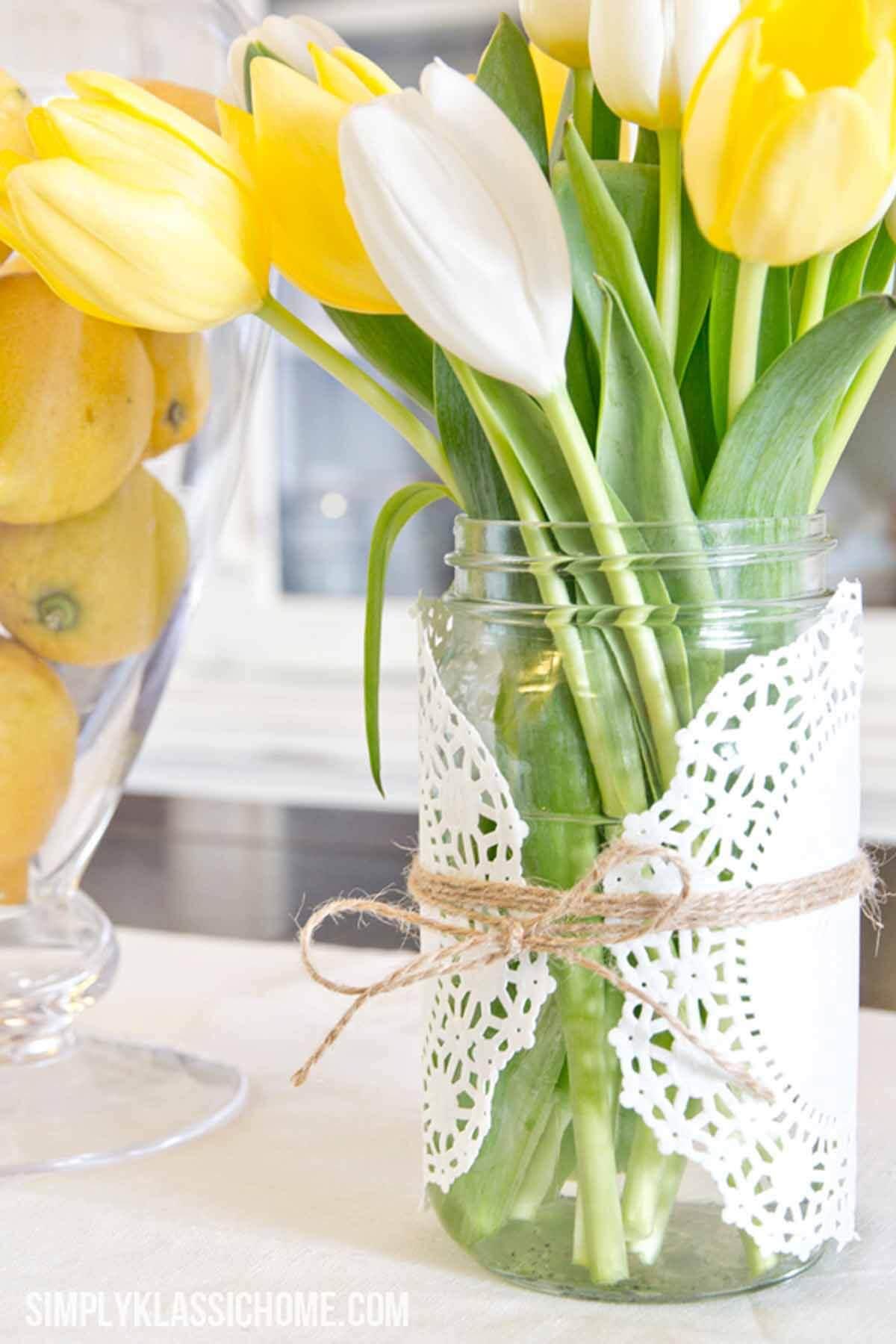 Doily Embellished Mason Jar Vases