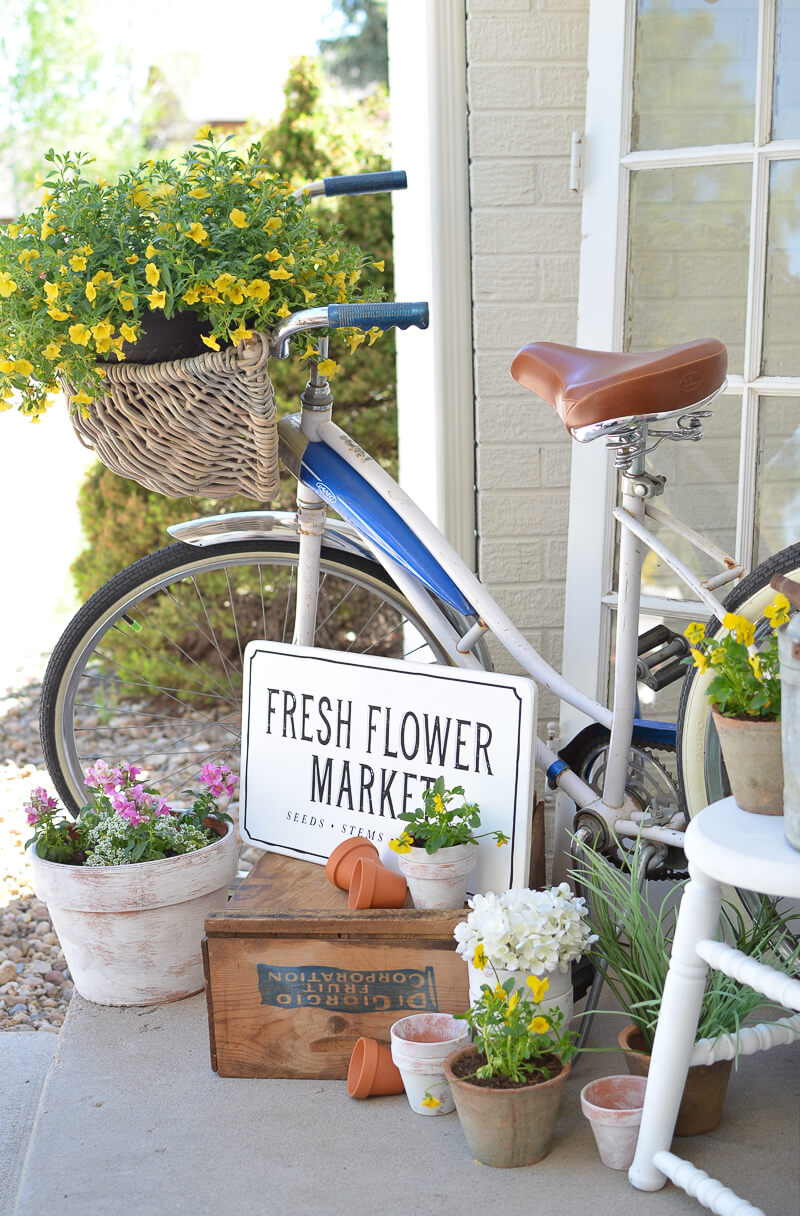 Bicycle With Basket Flower Planter