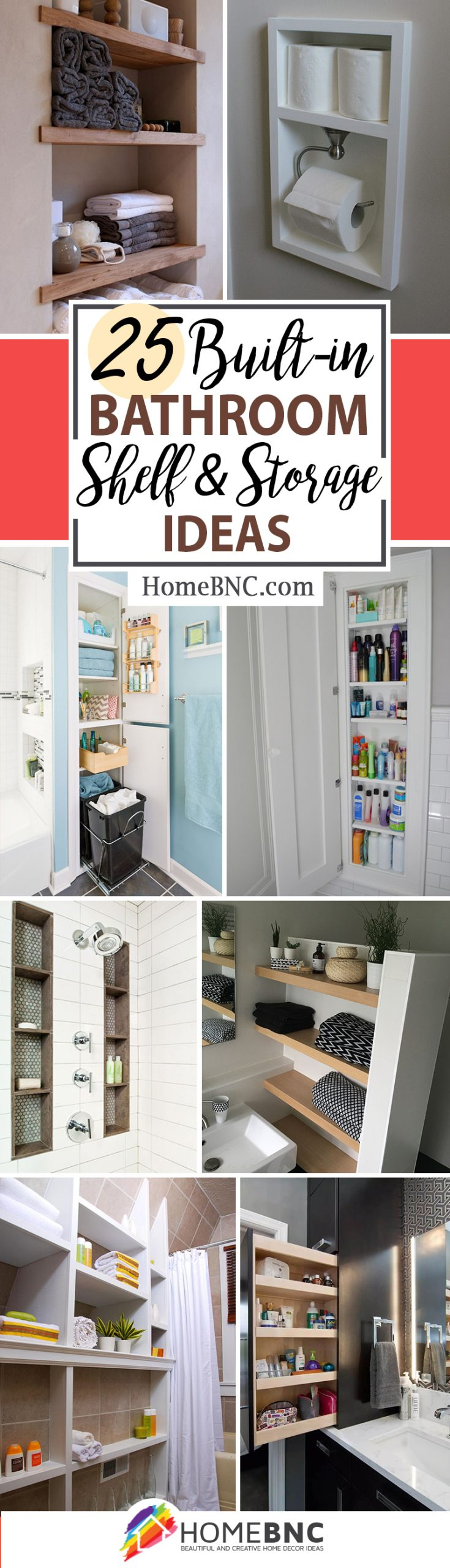 Built-in Bathroom Shelf and Storage Ideas