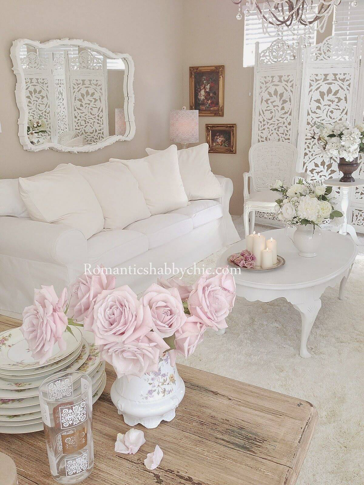 White On White with Pink Flowers
