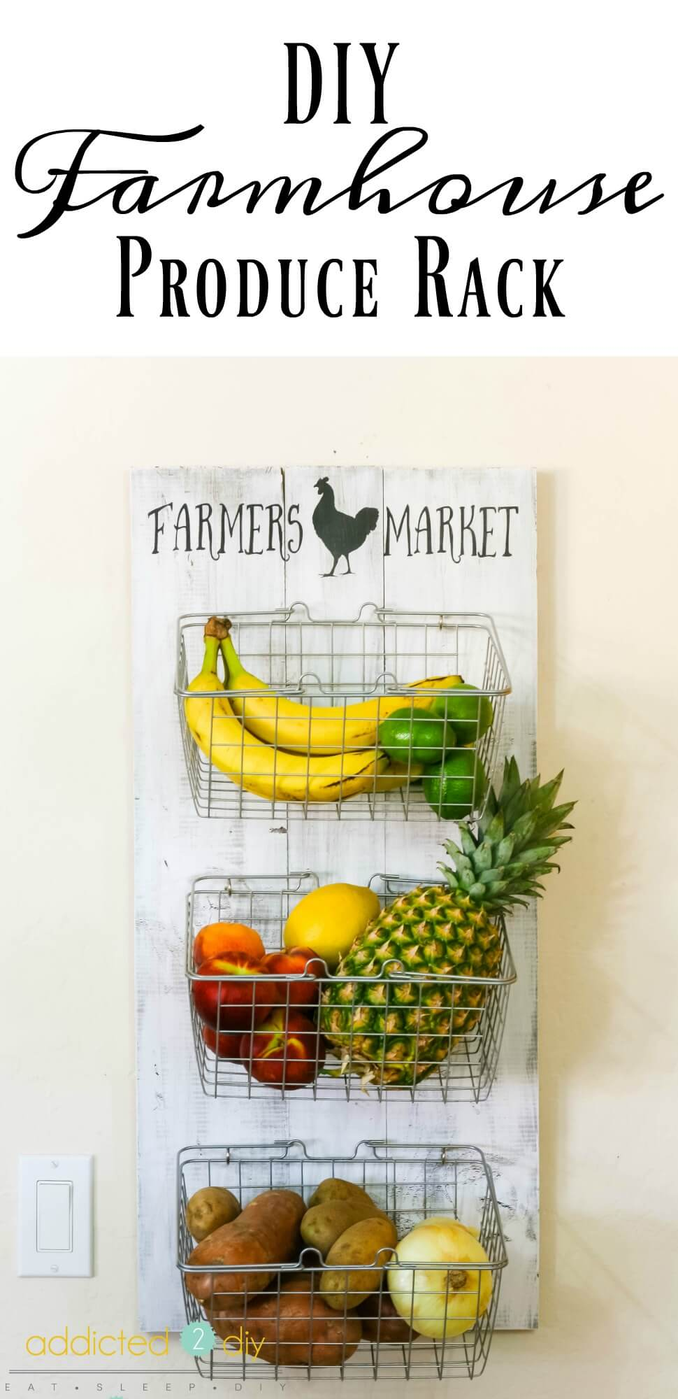 2 Hang Fruit And Veggie Baskets On A Cute Board