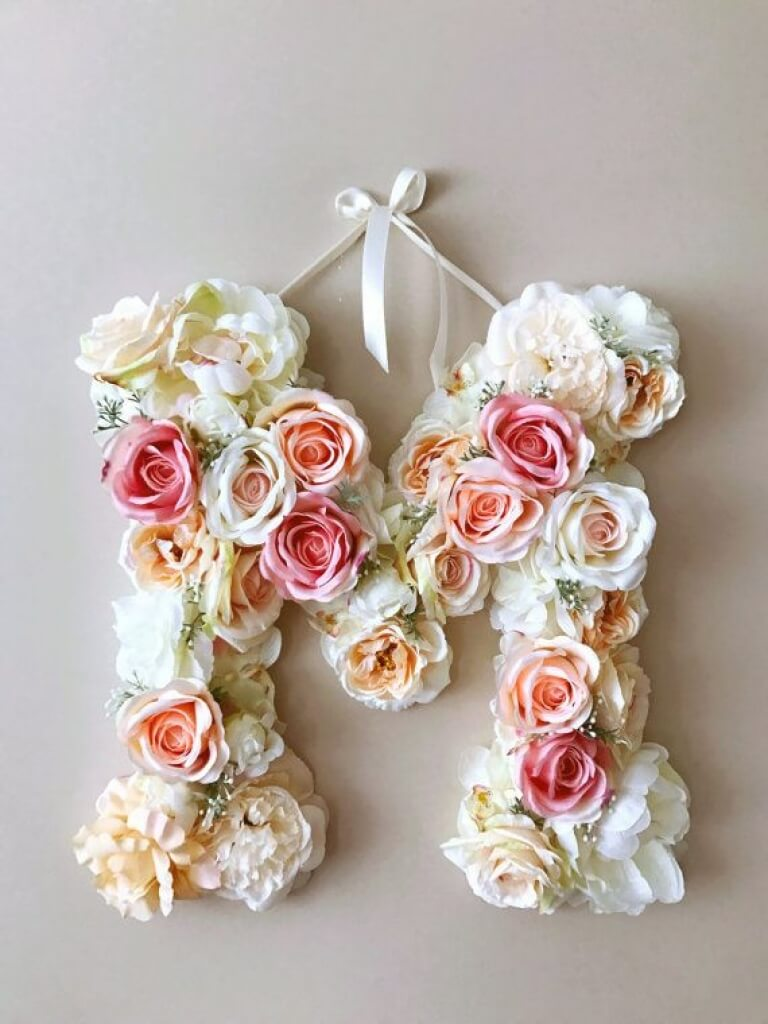 Custom Floral Wreath Door Letters