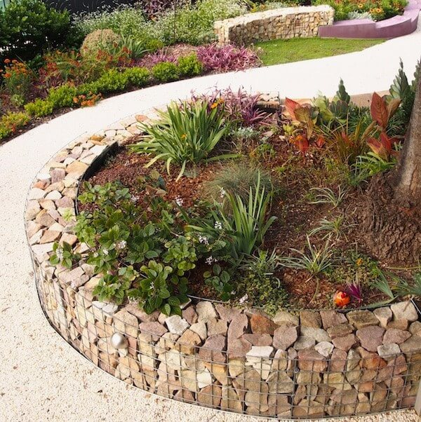 Raised Flower Beds with Stone Walls