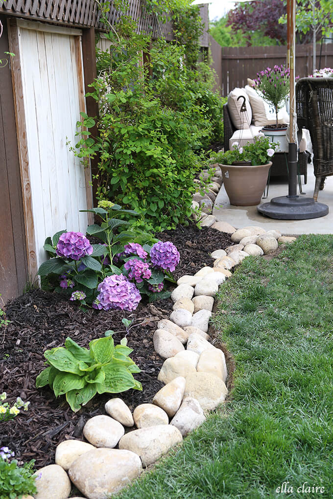 Outdoor Garden Edged with White Rocks