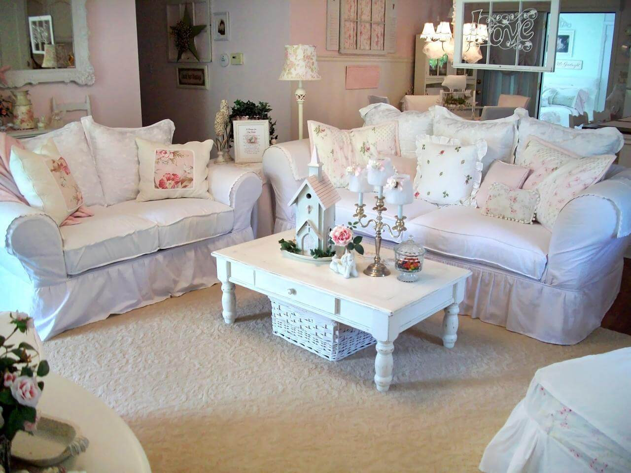 Cozy White Couches with Cushions