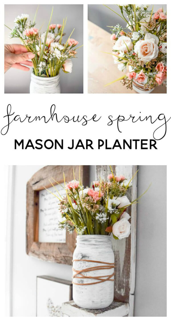 Farmhouse Style DIY Mason Jar Flower Arrangement