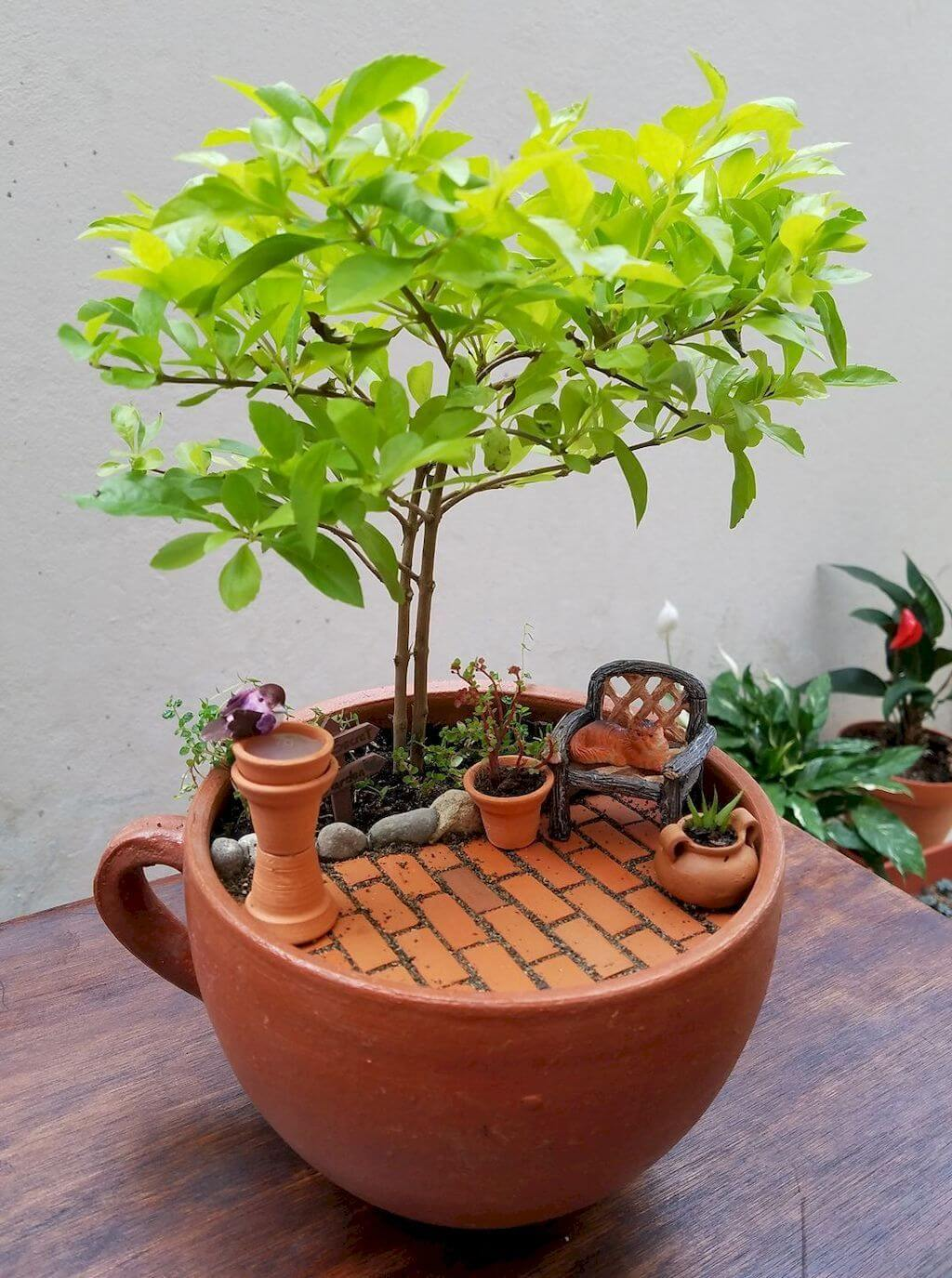 Tiny Tree and Pixie Patio with Birdbath