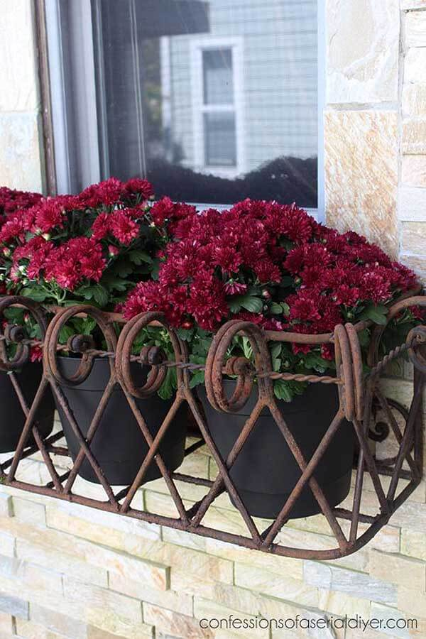 Decorative Iron Window Box for Potted Plants