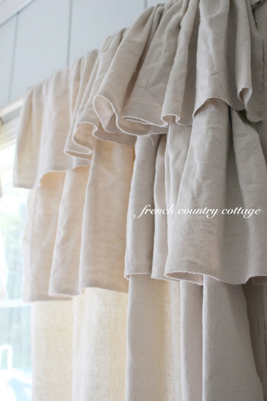 Ruffled Off White Curtains with Layers