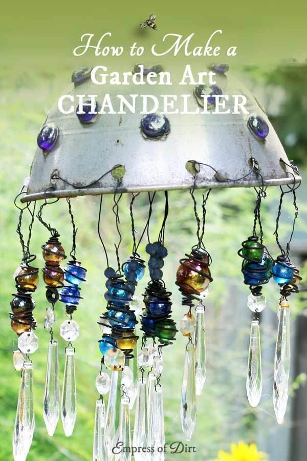 Sparkling Garden Chandelier with Hanging Crystals