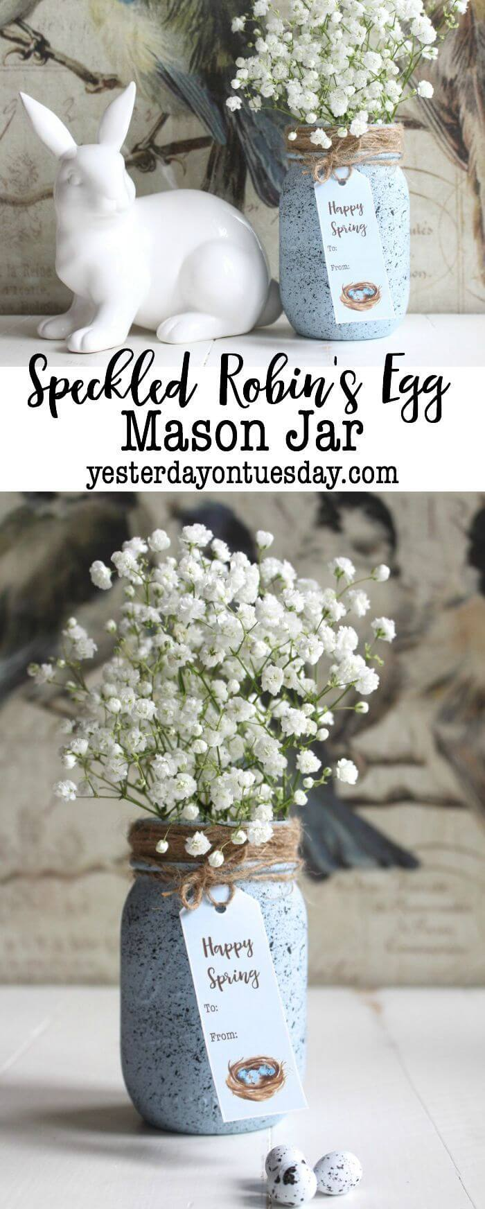 Mason Jars Speckled Like Robin's Eggs