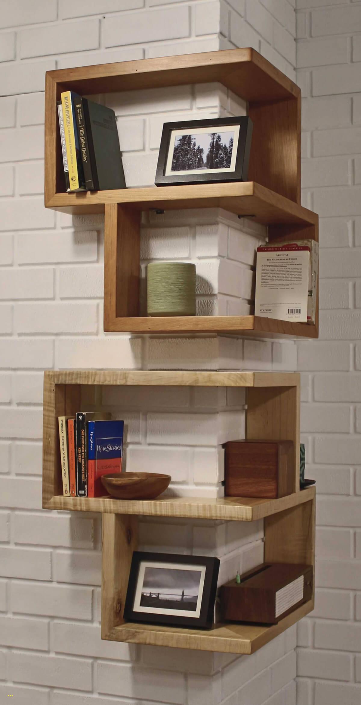Modern Cube Wall Shelves On A Corner