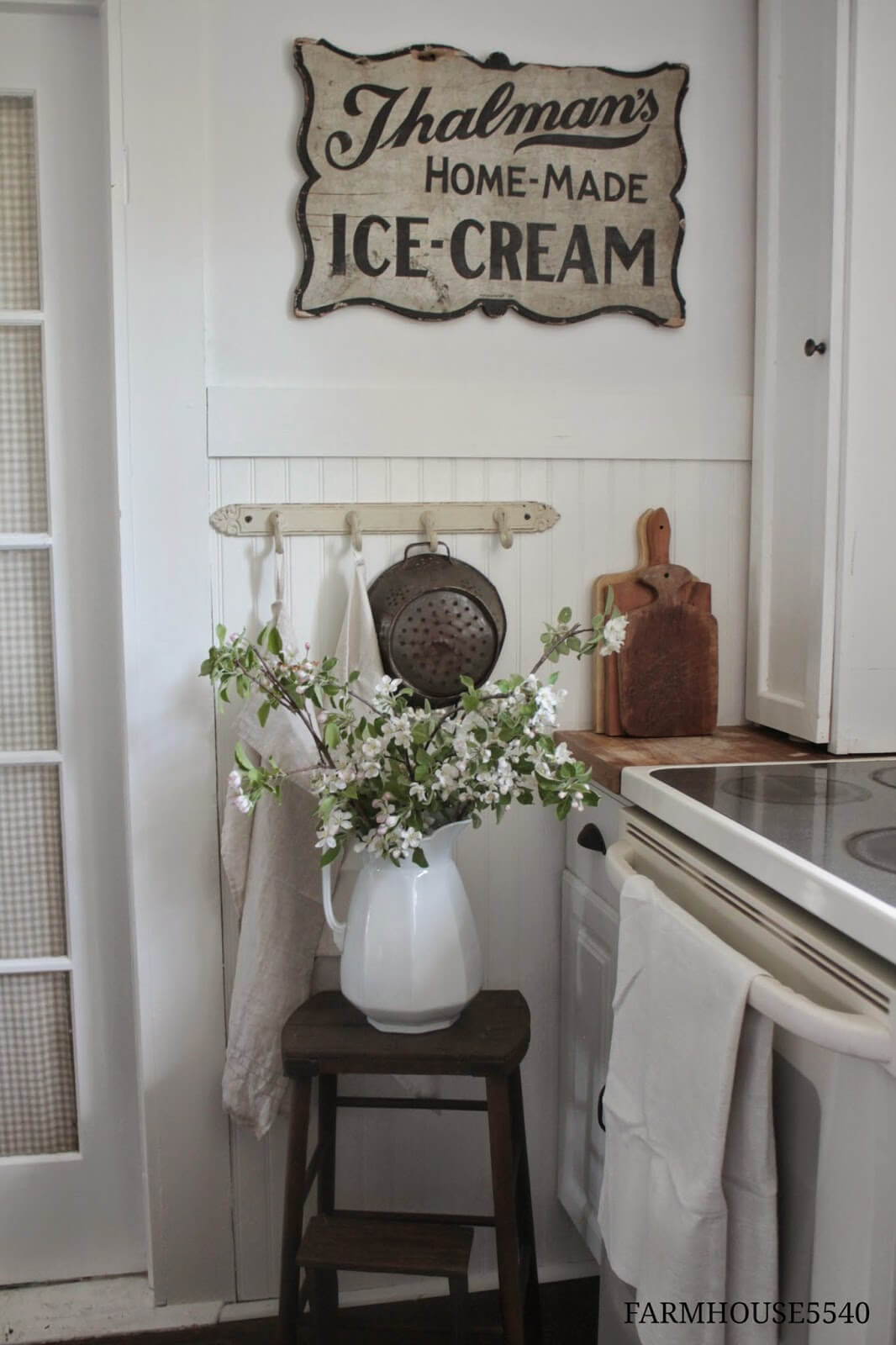 Country Cottage Style Kitchen Ideas with a Stepstool