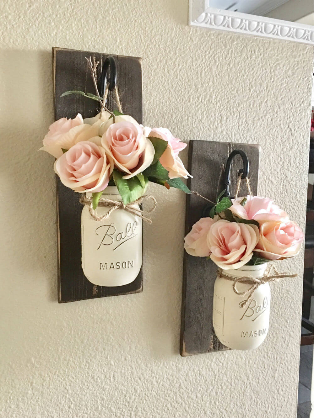 White Mason Jars on Wall Hooks
