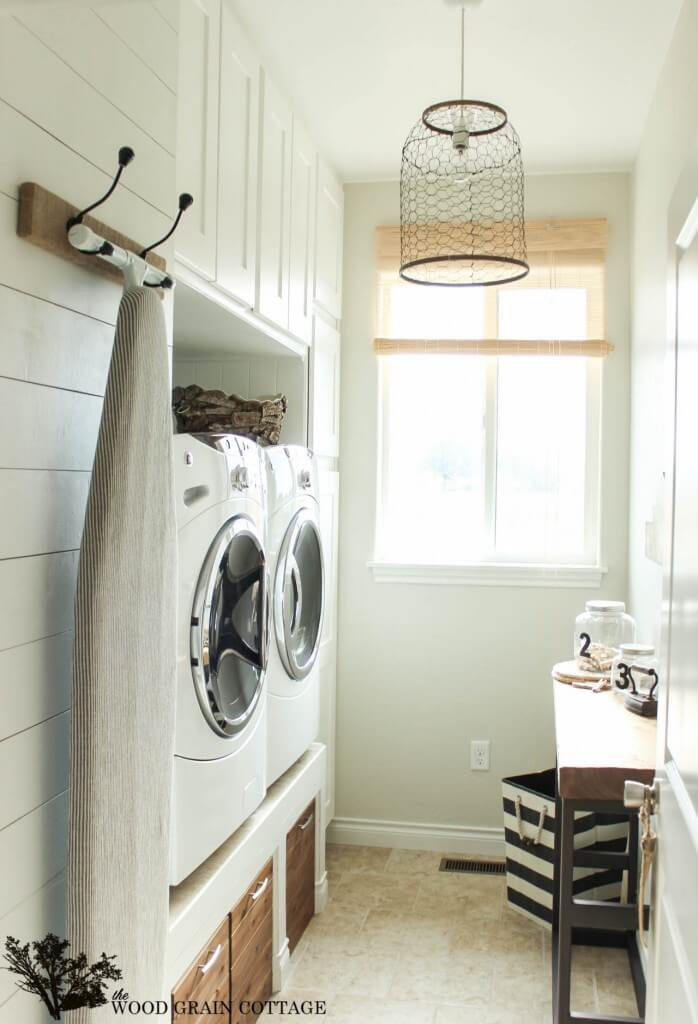 Laundry Room with Chicken Wire Light Fixture — Homebnc