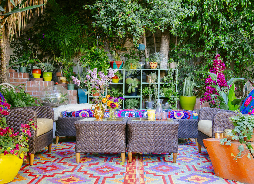 Vividly Colorful and Whimsical Seating Area