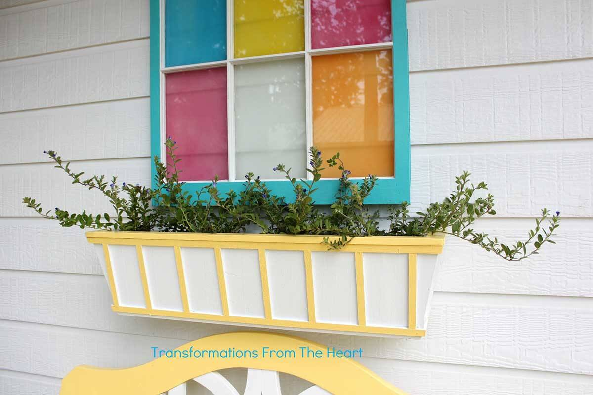 Pretty Yellow and White Striped Window Box