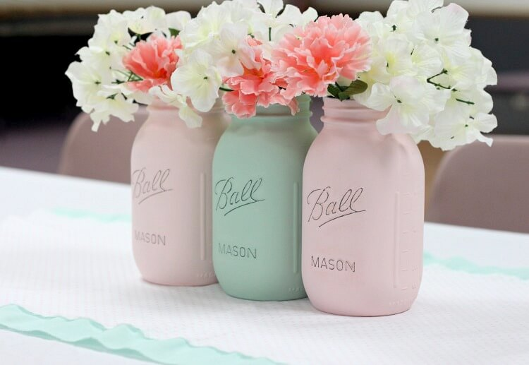 DIY Mason Jar Flower Arrangement in Pastels