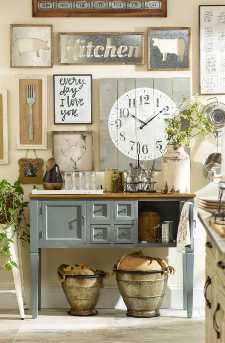 Country Cottage Style Kitchen Decor Idea with Wall Art