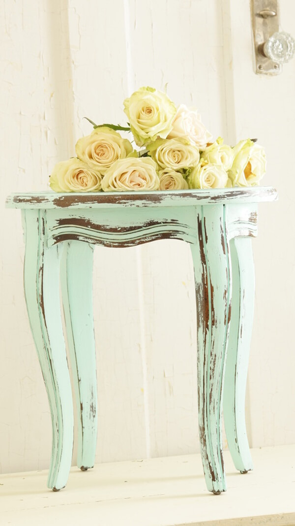 Distressed Pale Blue Side Table with Roses