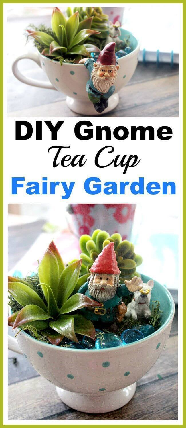Gnomes Hanging Out in Teacup Gardens