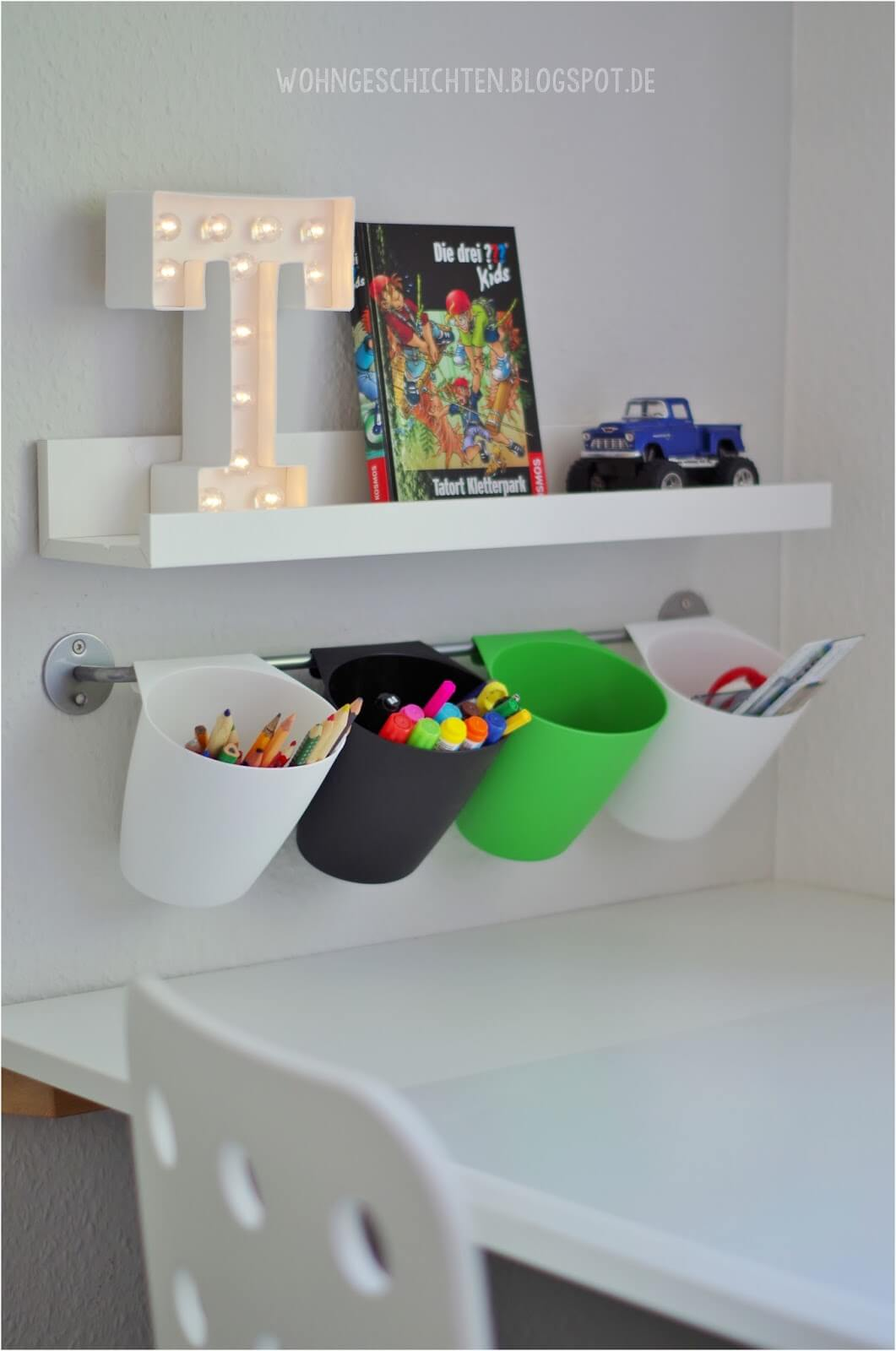 Hanging Pencil Cups and Floating Shelves