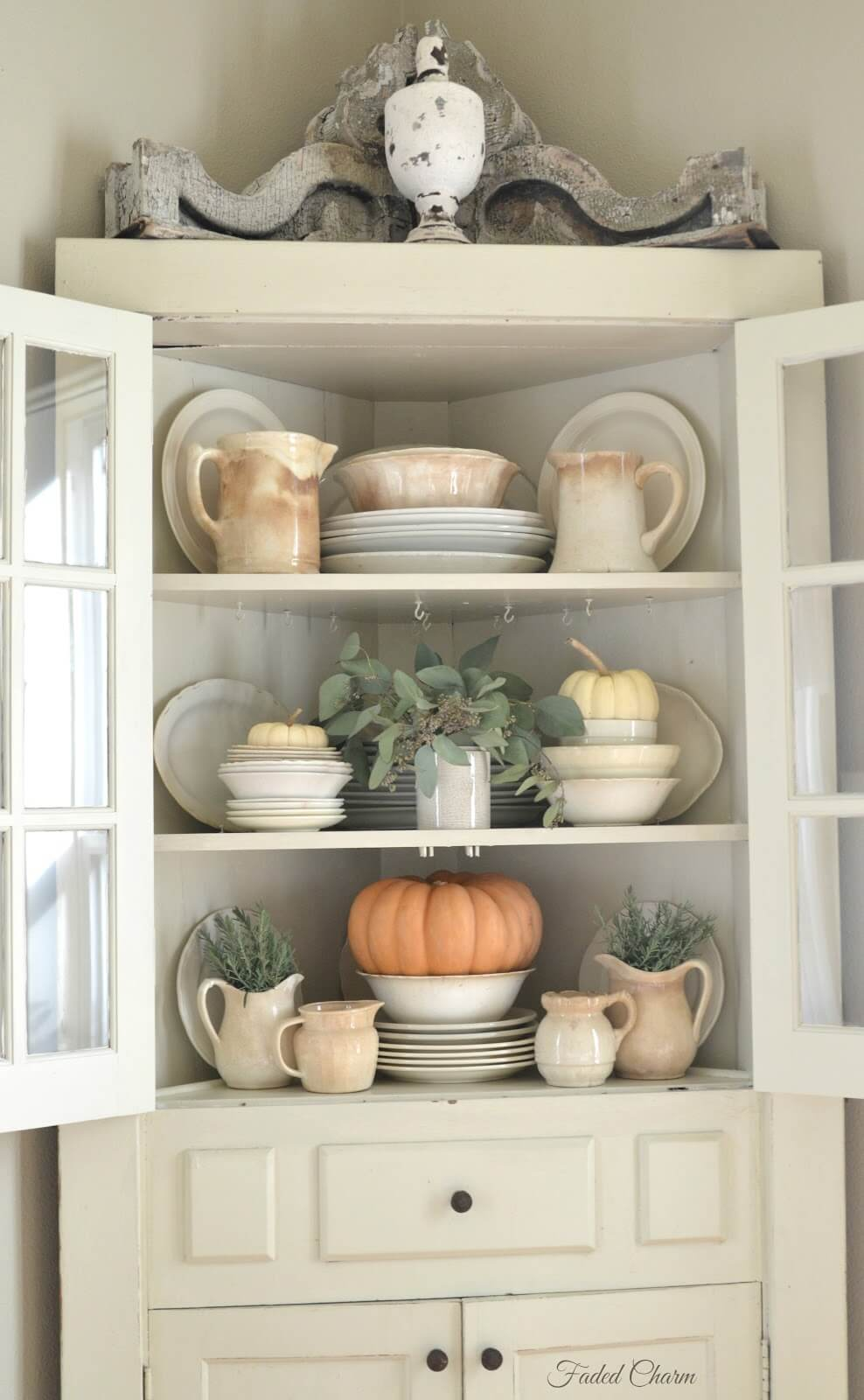 Corner Cabinet with Sage and Gourds