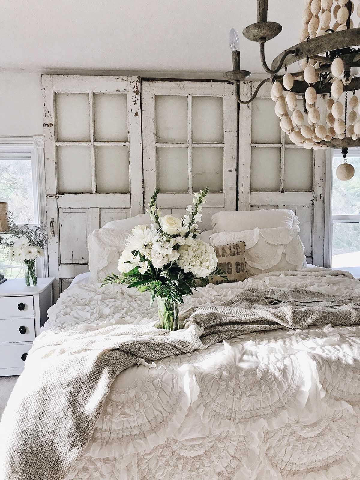 Reclaimed Doors as Headboard with Flowers