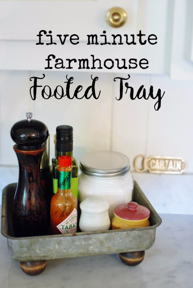 Reclaimed Metal Farmhouse Footed Tray