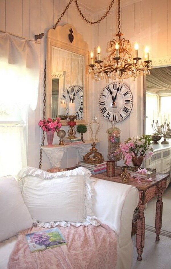 17. Cozy Cluttered Corner With Pink Roses