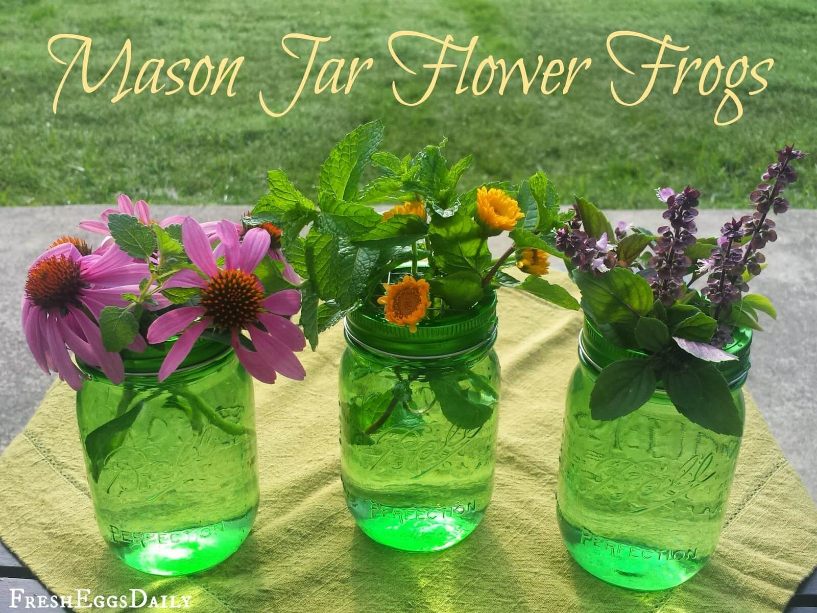 Green Mason Jars with Flower Frogs